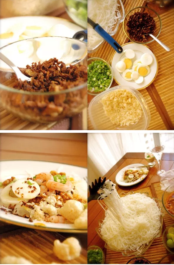 Different steps to make Pancit Palabok with seafood at home