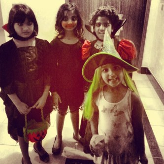 Lil Z out with friends for 'Trick or Treating'