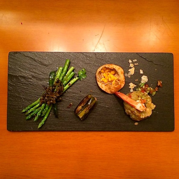 The Gourmet Starters - Shrimp Churmur or Crumbled Panipuri, Kalojeere Asparagus (Asparagus with Black Cumin), Potoler Dorma stuffed Parval); Photo Courtesy: Dima