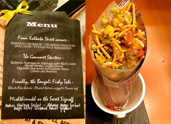 The menu and Jhaal Muri or Puffed Rice Masalafied