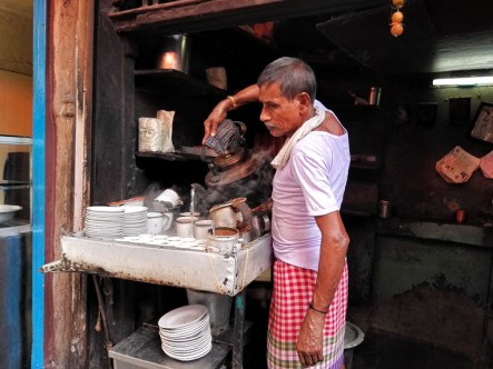 Chai at Chittobabu's shop in Dacres Lane