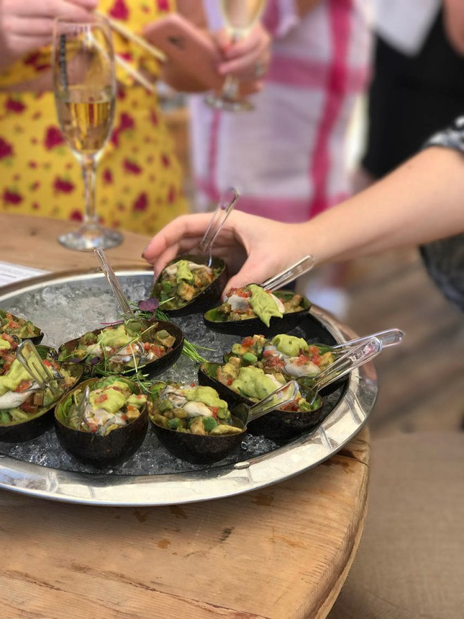Gourmet recipes with Dibba Bay Oysters - avocado halves filled up with lime n cilantro