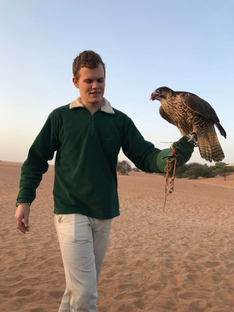 Falconry at sunrise at Al Maha Desert Resort & Spa