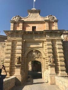 Main Gate or Vilhena Gate with inscription and Vilhena's coat of arms