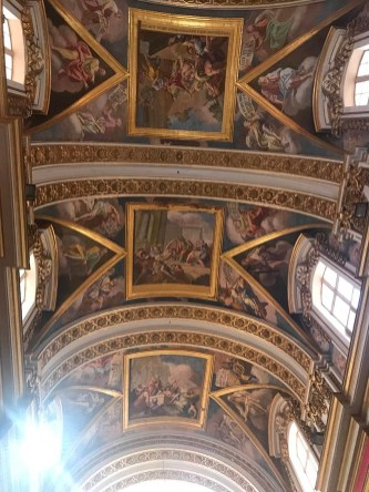 The frescoed ceiling inside St Paul's Cathedral