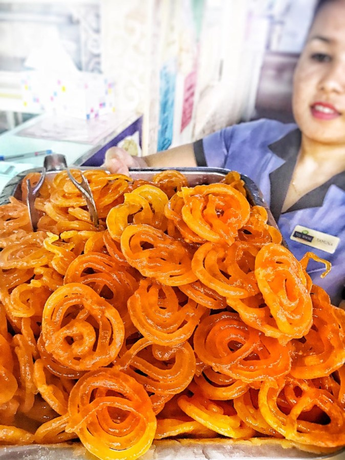 Crispy hot jalebis at Veg World