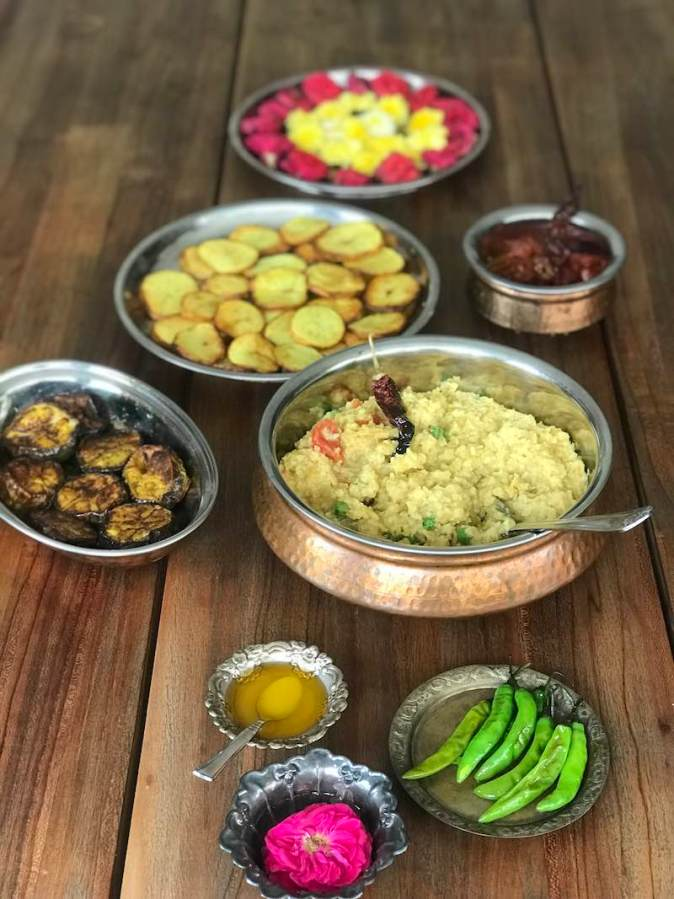 Traditional Bengali food in my kitchen in Chennai home