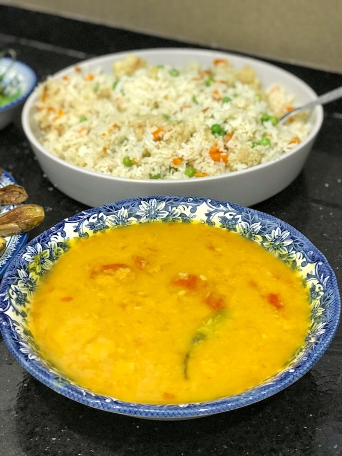 Bhaja monger daal and pulao
