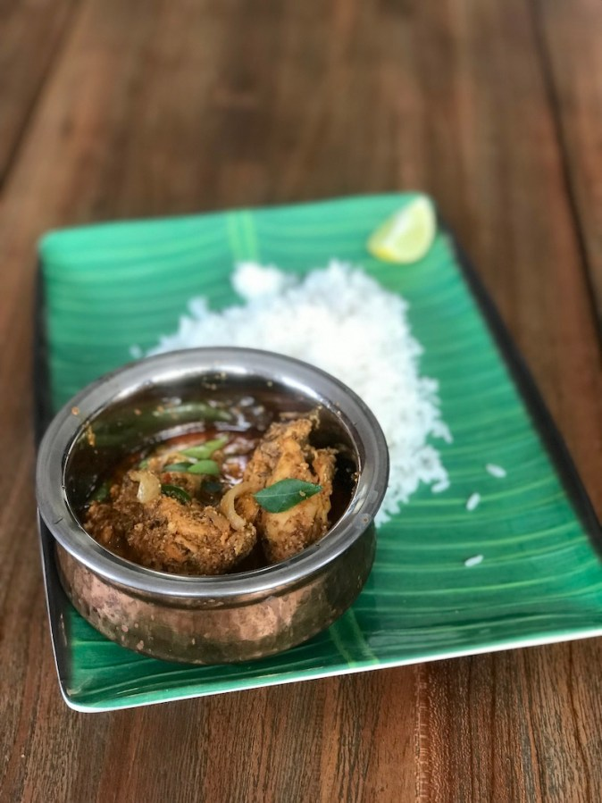 Chettinad Chicken served with steaming hot rice