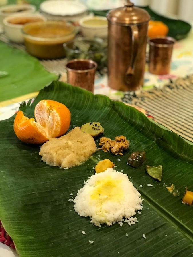 Traditional Chettiar meal during Pongal