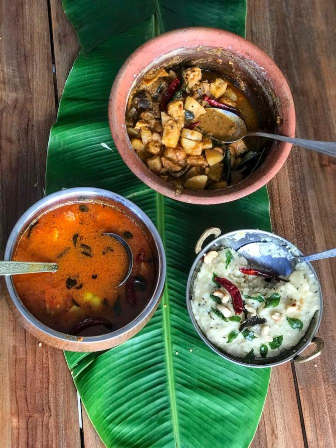 Traditional Sappadu or a typical Tamil meal of Ven Pongal, Sambar and Aviyal