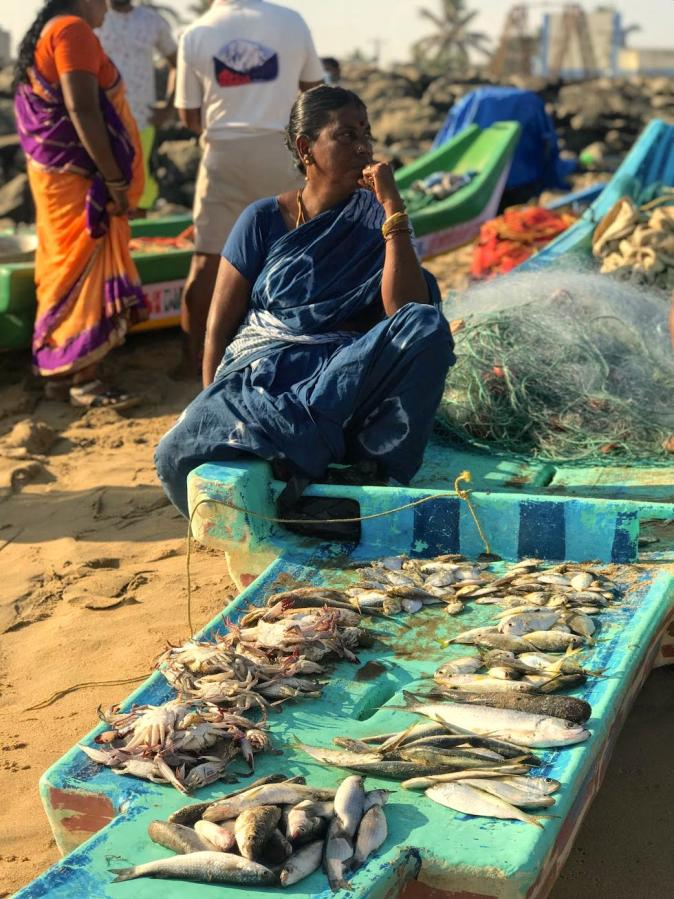 A fisherwoman in Kovalam beach in Chennai
