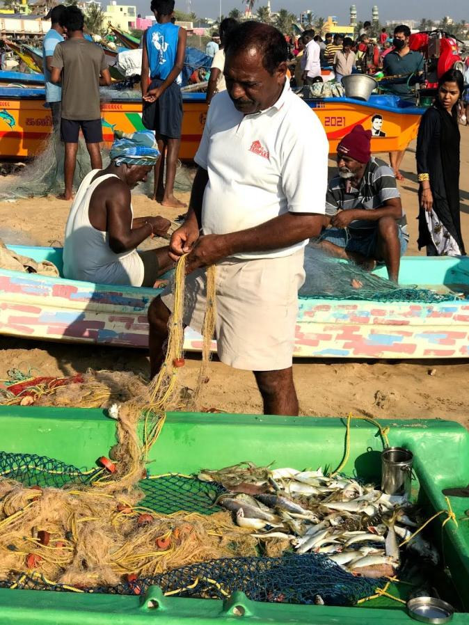 A fisherman in Kovalam beach in Chennai