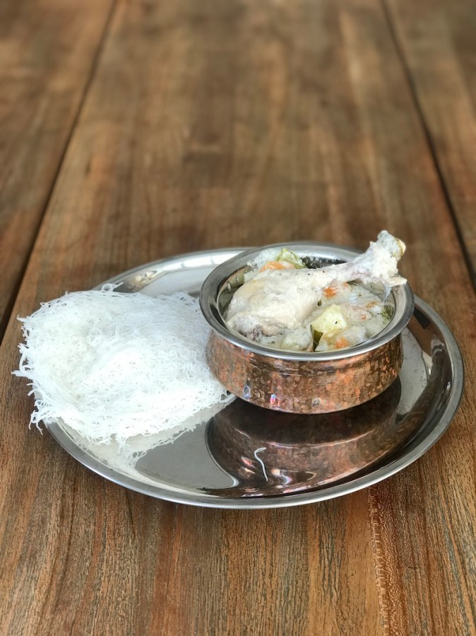 Idiyappam with Malaysian chicken stew