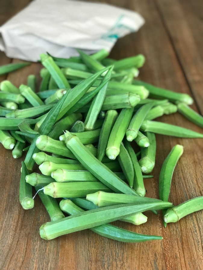 Farm fresh okra from Sri Durga Farms at Thirukazhukundram