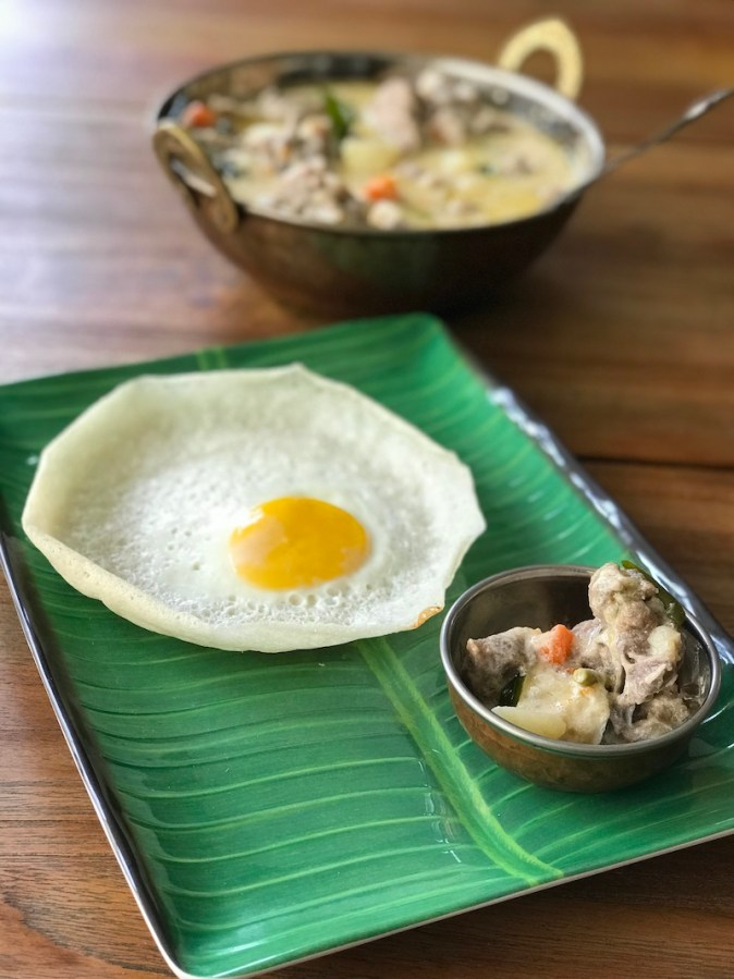 Bull's Eye Appam with Kerala style Mutton Stew