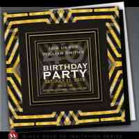 Funky Scifi Black Gold Birthday | Invitations