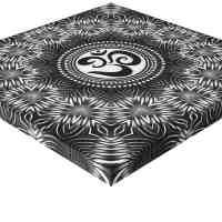 Silver Black Om Sign Love Mandala Art Canvas