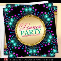 Blacklight Sparkle Dinner Party | Invitation