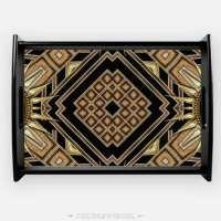 Serving Tray - ArtDeco Black Gold Design