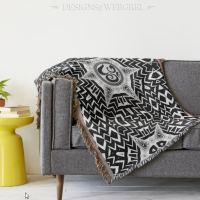 Black+White Om Star Trip Mandala | Throw Blanket