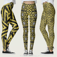 Geometric Patterns Black and Gold Leggings