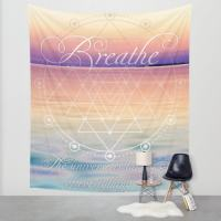 Breathe Mindful Reminder Quote Wall Tapestry