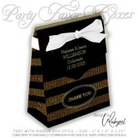 Black & Gold Glitter Stripes Wedding Party Favor Box