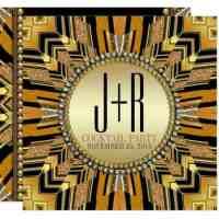 Illusion Art Deco Gold Black Dinner Party Invitation