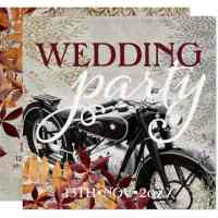 Autumn Vintage Motorcycle Wedding Invitation