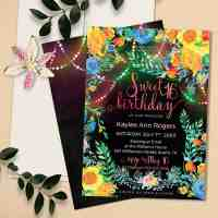 Fairy-Lights Floral Boho Sweet 16 Birthday Invitation