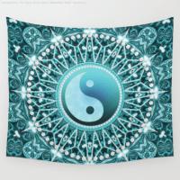 Tranquility Aqua Blue Mandala Wall Tapestry