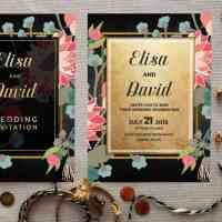 Gold Floral Wildflowers Wedding Invitation