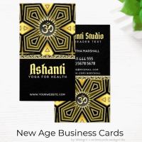 Ashanti Gold Black Art Deco Yoga Business Cards