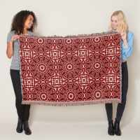 Arabesque Batik Red White Throw Blanket