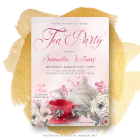 Pink Bridal Shower Tea Party Invitation
