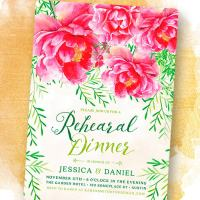 Pink Peonies & Greenery Rehearsal Dinner Invitation