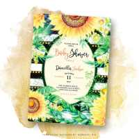 Funky Stripes Sunflowers Baby Shower Invitation