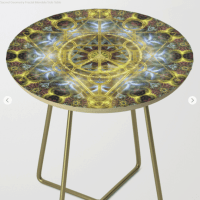 Sacred Geometry Fractal Mandala Side Table
