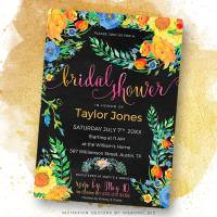 Colorful Flowers Bridal Shower Invitation