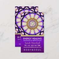 Buddha OM Mandala Gold Purple Business Cards
