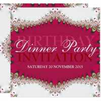 Red+White Vintage Lace Birthday Dinner Party Invitation