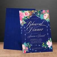 Rustic Blue Floral Rehearsal Dinner Invitation