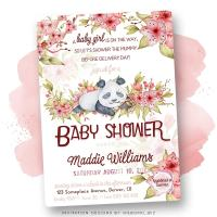 Baby Panda Cherry Blossom Baby Shower Invitation
