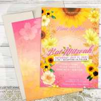 Pink Ombre Sunflowers Bat Mitzvah Invitation