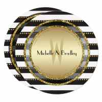 Modern Glam Gold Black+White Round Invitation