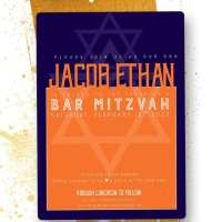 Orange Blue Star of David Modern Bar Mitzvah Invitation