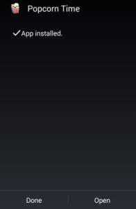 popcorn time app installed now