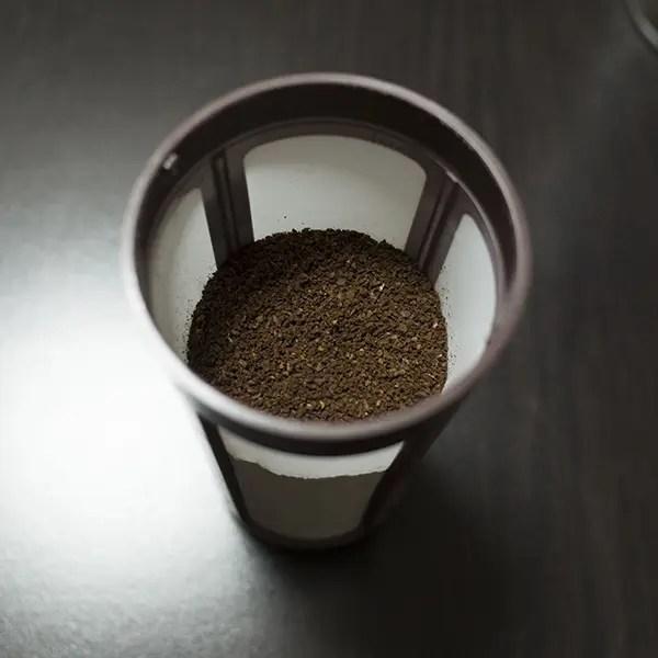 コーヒー粉が全部入ったら