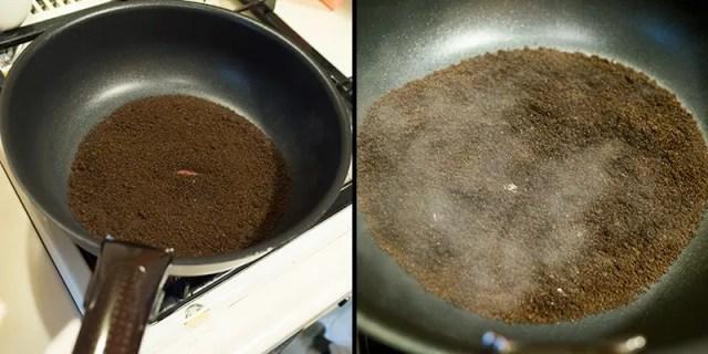 消臭剤:フライパンで水分をとばす